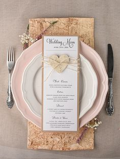 Set of Rustic Wedding Menu Cards (10),Heart menu, Rustic Menu Card, Rustic Heart Menu Cards, ,