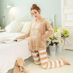 Flannel 2017 Hot Winter Thicken Pajamas Long-sleeved Stripes Letter Warm Woman Tracksuit New Fashion Sleepwear Sets Plus Size