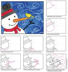 to draw a Windy Snowman. PDF tutorial available.How to draw a Windy Snowman. PDF tutorial available. Classroom Art Projects, School Art Projects, Art Classroom, Projects For Kids, January Art, December, Classe D'art, Winter Art Projects, Christmas Art Projects