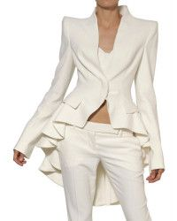 Alexander mcqueen Leaf Viscose Crepe Flared Trousers in White | Lyst