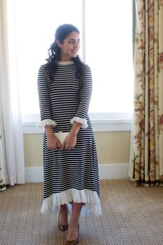 Navy and white striped Hamptons dress with ruffle hems. Modest fashion, bridesmaid dresses, ruffles, and lace. www.daintyjewells.com