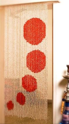 polka-red-white bead curtain