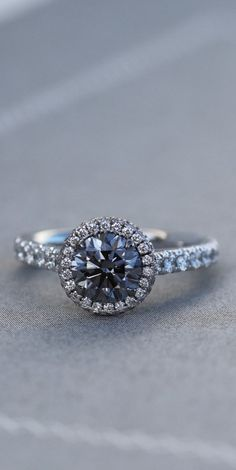 halo engagement rings which look stunning! Grey Diamond Engagement Ring, Engagement Rings Sale, Vintage Engagement Rings, Different Engagement Rings, Oval Engagement, Halo Diamond, Diamond Rings, Wedding Jewelry, Wedding Rings