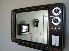 Cool mirror! Old tv- turned into mirror- you could totally make one of these or just buy it from this site ---