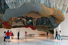 Ernesto Neto at Faena Arts Center, Puerto Madero, Brazil. Can actually walk through crocheted installation.