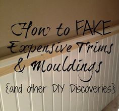 DIY Home Decor ~ how to fake expensive mouldings and trims, wall decor, woodworking projects Easy Diy Projects, Home Projects, Wooden Projects, Home Renovation, Home Remodeling, Basement Renovations, Do It Yourself Inspiration, Moldings And Trim, Moulding
