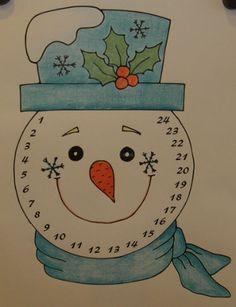 Adventný kalendár - snehuliak Dino Cake, Christmas Diy, Christmas Decorations, Winter Crafts For Kids, 9 And 10, Decorative Plates, Handmade Crafts, Xmas, Children