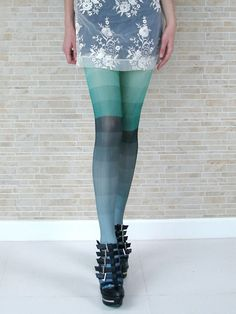 Kron by KronKron: Ombre Blue-Green and Grey Tights