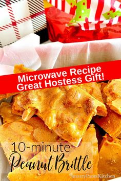 Quick and easy 10-minute microwave Peanut Brittle! Light and flavorful-requires no candy thermometer! Makes a great hostess gift! Quick and easy holiday candy Homemade Peanut Brittle, Microwave Peanut Brittle, Easy Recipes For Beginners, Cooking For Beginners, Muffin Recipes, Snack Recipes, Cooking Recipes, Thanksgiving Recipes, Holiday Recipes