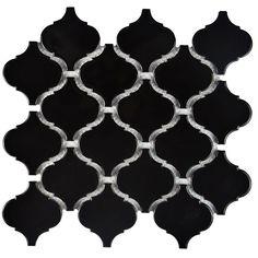 Merola Tile Metro Lantern Glossy Black in. x 6 mm Porcelain Mosaic Tile FDXMLBK at The Home Depot - Mobile Ceramic Mosaic Tile, Mosaic Wall Tiles, Stone Mosaic, Stone Tiles, Glazed Ceramic, Mosaic Glass, Mediterranean Tile, Splashback Tiles, Stove Backsplash