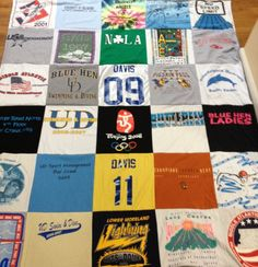 Remember your athletic accomplishment with a tee-shirt blanket like this one dedicated to swim memories! A real story from a Project Repat t-shirt quilt customer