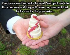 Send them a photo of your cake and they make it an ornament to keep forever. So cute! Price range $175- $300. http://www.womangettingmarried.com/how-to-turn-your-wedding-cake-into-an-ornament/