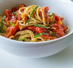 Cooking Weekends: Spaghetti with Fresh Tomato and Anchovy Butter Sauce