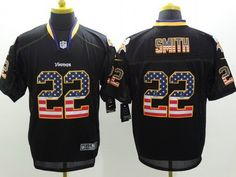 Nike Minnesota Vikings #22 Harrison Smith 2014 USA Flag Fashion Black Elite Jersey