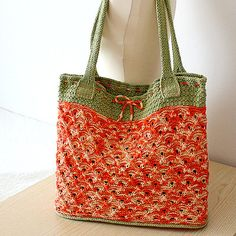 INSTANT DOWNLOAD - Knitting Pattern (pdf file) Bright Summer/Tote Bag (Double Handles)