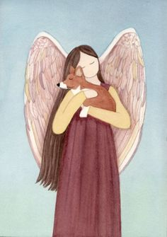 My sweet Corky being held by an angel. What a sweet idea from an artist on Etsy.