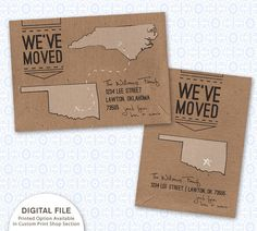 We've Moved  States Shapes Moving by SilverLiningPrinting on Etsy, $8.00