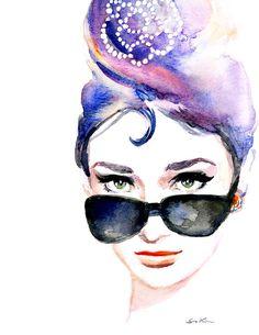 Audrey Hepburn's iconic  sunglasses  Print of by sookimstudio, $20.00