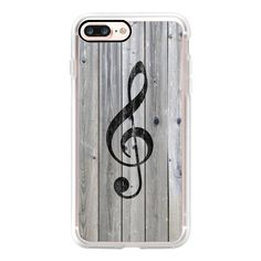 Vintage White Music Note Treble Clef Gray Wood - iPhone 7 Case, iPhone... (145 RON) ❤ liked on Polyvore featuring accessories, tech accessories, phone cases, iphone case, wooden iphone case, slim iphone case, iphone cover case, iphone cases and apple iphone case