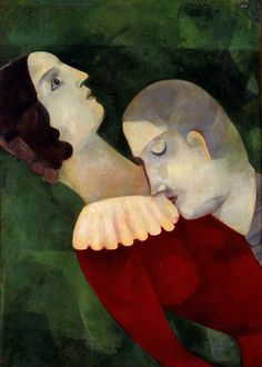 Painting by Marc Chagall Les amoureux en vert (Lovers in green), Oil on cardboard mounted on canvas. Marc Chagall, Artist Chagall, Chagall Paintings, Georges Pompidou, Alberto Giacometti, The Embrace, Max Ernst, Manet, Expo