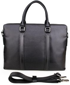 This profesionally-looking unisex genuine black slim leather briefcase has two…