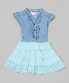 Another great find on #zulily! Aqua Chambray Lace Dress - Toddler & Girls by Unik #zulilyfinds