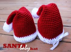 """Santa Baby (Infant Hat)...The White Part On The Hat Here & The One On The Site Are Slightly Different, Because This One Is Done With All Reg. Yarn & The One On The Site Is Done With A """"Fur"""" Yarn...Click On Picture For Free Pattern..."""