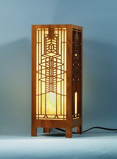 Decorative Frank Lloyd Wright Designed Laser Cut Wood Accent Lamp from Lightwave Laser