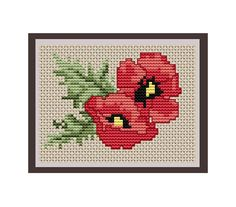 Poppy Seed Flower Counted Cross Stitch Pattern. PDF Instant Download. Nature. Decor Pattern.