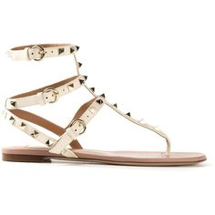 VALENTINO GARAVANI 'Rockstud' sandal ($640) ❤ liked on Polyvore featuring shoes, sandals, flats, sapatos, flat sandals, strappy leather sandals, white leather sandals, leather flats and white sandals
