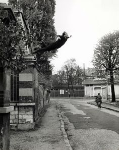 Leap into the Void by Yves Klein, 1960. Another great artist, I wish I'd found sooner. Showing the pleasures but more of the terrors of suspension. The image was a photomontage in which the large tarpaulin Klein leaped onto was removed from the final image.