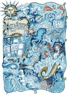 Ocenarium Art Print by Biljana Kroll. Nautical art for sea lovers! Real Mermaids, Mermaids And Mermen, Illustrations, Illustration Art, Mermaid Illustration, Painting & Drawing, Nautical Art, Vintage Nautical, Sea Art