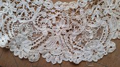 Antique Edwardian Duchesse Brussels Lace POINT DE GAZE Trim Collar Wedding Shawl
