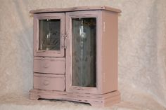Pink Shabby Chic Jewelry Box / Wooden Jewelry Armoire With Gray Velvet Lining…