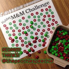 Thanks for the regram, @thepeachiespeechie!  Challenge to my students: say your speech sound 100x Challenge to myself: don't eat all of the M&Ms! - - click on pin for more!    - Like our instagram posts?  Please follow us there at instagram.com/pediastaff