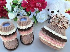 Вязаные сапожки и вязаные шапочки для детей. Knitted Baby Hat. Knitted  ...