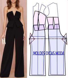 DIY Women's Clothing : macacão para cerimónia -Read More –Are Cats NocturnalPattern for jumpsuitThe best DIY projects & DIY ideas and tutorials: sewing, paper craft, DIY.Love these diy fashion Fashion Sewing, Diy Fashion, Ideias Fashion, Fashion Outfits, Jumpsuit Pattern, Pants Pattern, Diy Clothing, Sewing Clothes, Sewing Pants