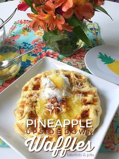 Pineapple Upside Down Waffles. Pineapple Upside Down Waffles are light and fluffy on the inside with a crisp caramelized pineapple crust. Top them with whipped cream, coconut and syrup! Pineapple Fritters, Pineapple Pancakes, Pineapple Syrup, Pineapple Slices, Pineapple Recipes, Pineapple Upside Down Cake, French Toast Waffles, Crepes And Waffles, Breakfast Waffles