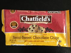 Chatfield's DF SF GF NF Chocolate chips  Dairy Free; Soy Free; Gluten Free; Nut Free  I really like these. Great for adding to muffins for the kids. Found at David's Natural Market in Gambrills, MD. Similar products at Wegman's in Crofton, MD.
