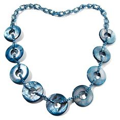 "Love this in ALL the colors! Colleen Lopez Mother-of-Pearl Disc and Crystal 31"" Necklace at HSN.com."