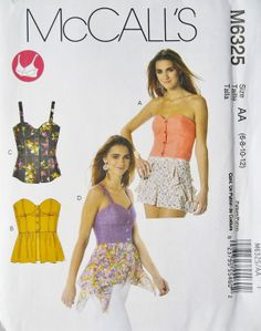 Corset Tops Pattern, Summer Tops Pattern,  Sz 6 to 12, McCall's 6325 sewing pattern