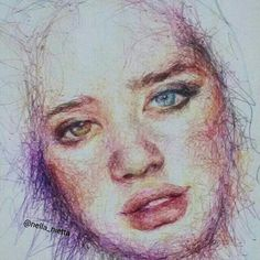Sarah McDaniel #sarahmcdaniel #nella_nietta #art #artist #pen #ballpointpen #ballpoint #color #model #draw #heterochromia #eyes #portrait #drawing
