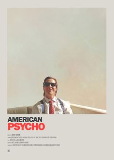 Christian Bale in American Psycho Minimal Movie Posters, Minimal Poster, Cinema Posters, Cool Posters, Film Posters, Best Movie Posters, Film Poster Design, Movie Poster Art, Poster S