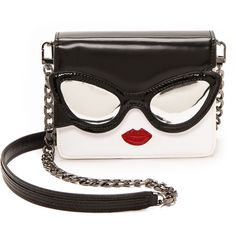 Alice + Olivia Stacey Face Mini Clee Bag - Black And White (£195) ❤ liked on Polyvore featuring bags, handbags, purses, miniature purse, chain strap purse, white and black handbags, mini purse and lips purse