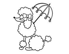 Dibujo de Caniche con sombrilla para colorear