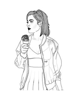 outline, girl, and art image Tumblr Girl Drawing, Tumblr Drawings, Tumblr Art, Tumblr Girls, Drawing Girls, Tumblr Outline, Outline Art, Outline Drawings, Cute Drawings