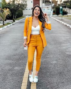 Orange Outfit Ideas Gallery how to wear outfits with a orange blazer chicisimo Orange Outfit Ideas. Here is Orange Outfit Ideas Gallery for you. Orange Outfit Ideas how to . Classy Work Outfits, Cute Casual Outfits, Stylish Outfits, Classy Dress, Dress Casual, Suit Fashion, Look Fashion, Fashion Dresses, Girl Fashion