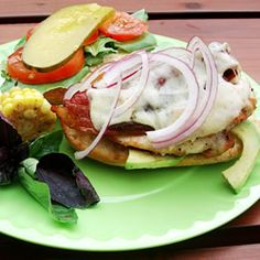 Cheese, Bacon Jack Chicken Sandwich, These Quick Chicken Sandwiches Are Great On The Grill! Serve With Your Favorite Toppings And Condiments! My Favorite Food, Favorite Recipes, Great Recipes, Dinner Recipes, Yummy Recipes, Wraps, Chicken Sandwich, Grilled Chicken, Chicken Bacon