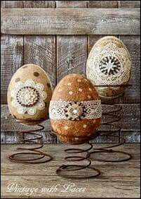 Bling up some plastic or wooden eggs...use old bed springs as holders