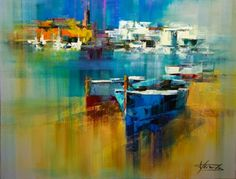 Today, I am sharing abstract palette knife paintings by one of the very talented Spanish artist and his name is Josep Teixido . Contemporary Landscape, Abstract Landscape, Landscape Paintings, Sailboat Painting, City Painting, Colorful Paintings, Beautiful Paintings, Boat Art, Palette Knife Painting